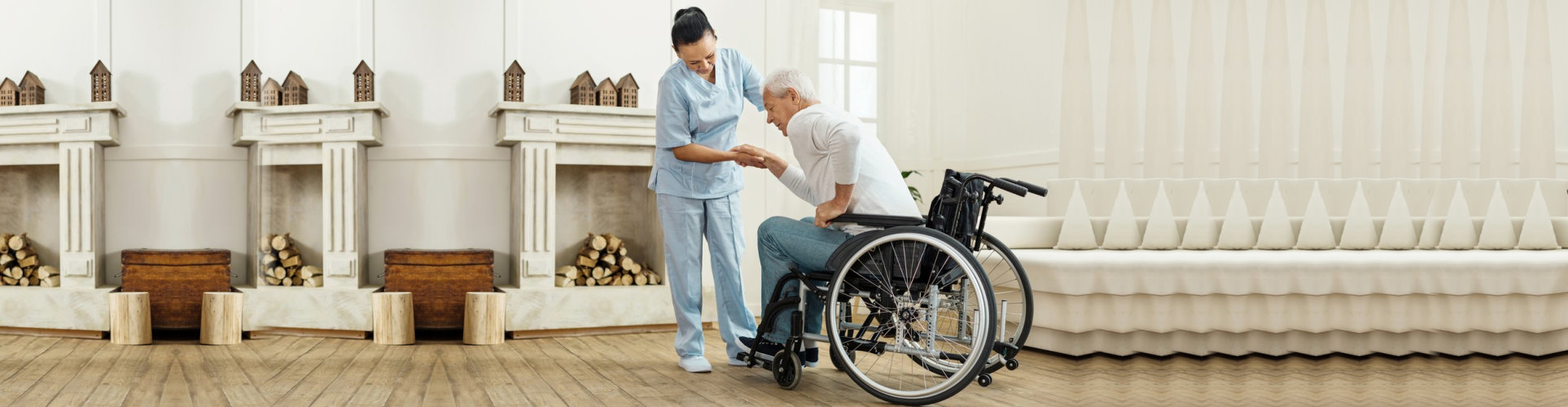 senior man using caregivers help and getting out from the wheelchair while wanting to sit on the sofa